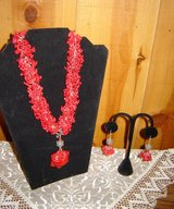 Red Coral Necklace with Pendant and Earrings in Ruidoso, New Mexico